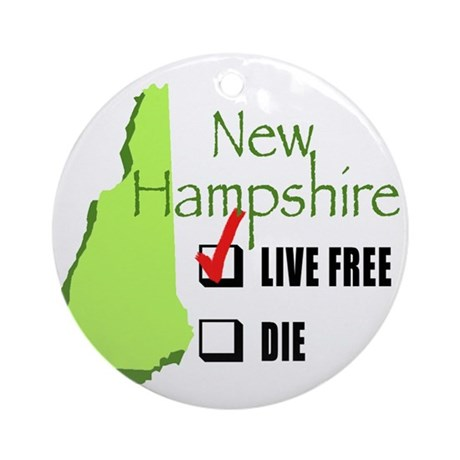 Live Free or Die New Hampshire Ornament (Round)