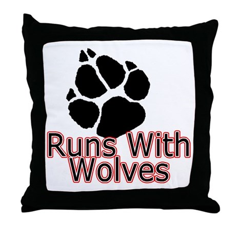 Runs With Wolves Throw Pillow