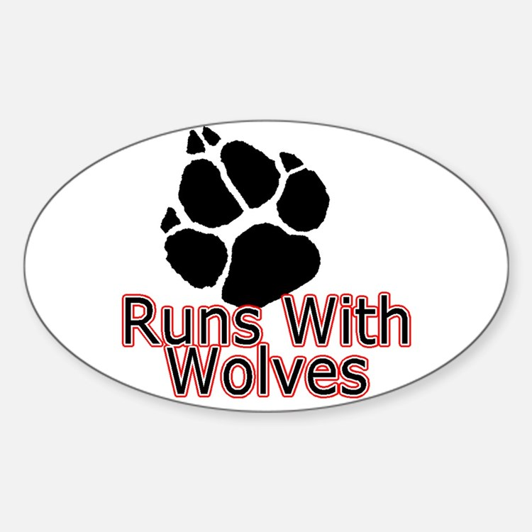 Runs With Wolves Oval Decal