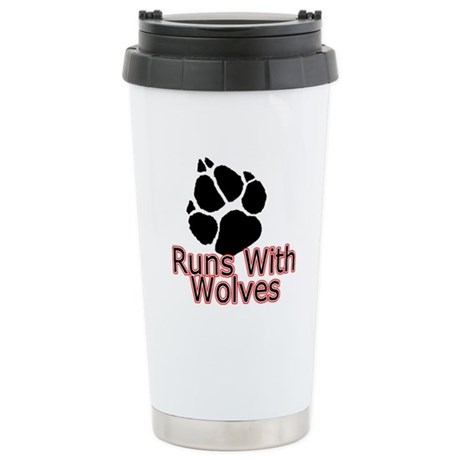 Runs With Wolves Stainless Steel Travel Mug