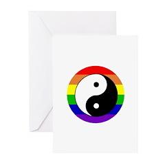 yin yang rainbow circle Greeting Cards (Pk of 20)