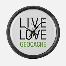 Live Love Geocache Large Wall Clock