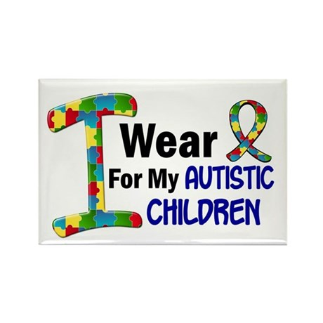 I Wear Puzzle Ribbon 21 (Children) Rectangle Magne