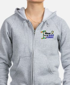 I Wear Puzzle Ribbon 21 (Students) Zip Hoodie
