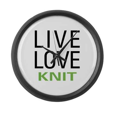 Live Love Knit Large Wall Clock