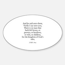 LUKE 18:29 Oval Decal