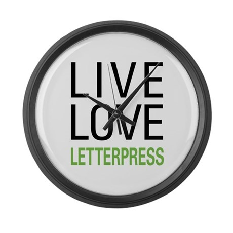 Live Love Letterpress Large Wall Clock