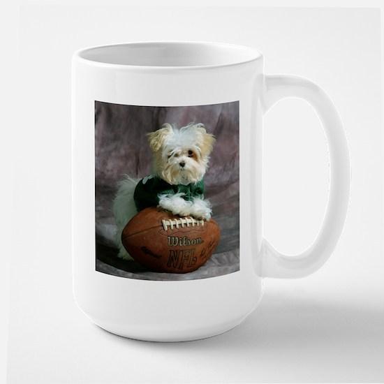 Maltese Puppy Dog with Footba Large Mug