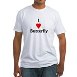 I Love Butterfly Fitted T-Shirt