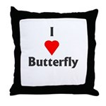 I Love Butterfly Throw Pillow