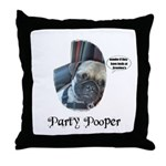PARTY POOPER PUG Throw Pillow