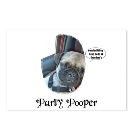 PARTY POOPER PUG Postcards (Package of 8)