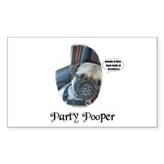 PARTY POOPER PUG Rectangle Decal