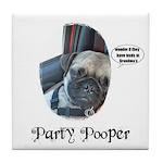 PARTY POOPER PUG Tile Coaster