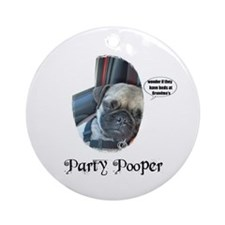 PARTY POOPER PUG Ornament (Round)