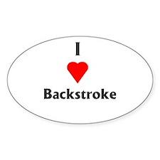 I Love Backstroke Oval Decal