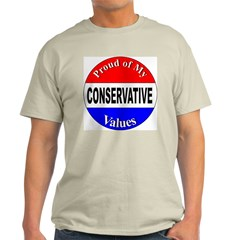 Proud Conservative Values (Front) Ash Grey T-Shirt