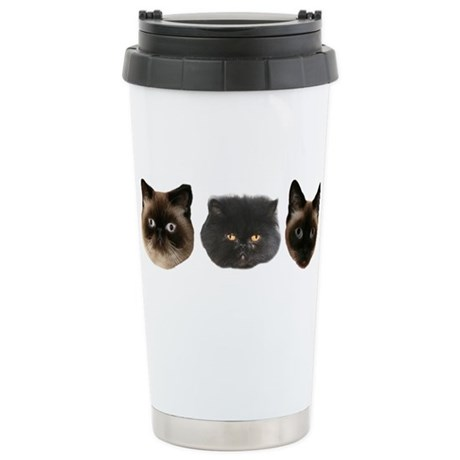 Cat Faces Stainless Steel Travel Mug