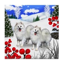 AMERICAN ESKIMO DOGS WINTER BERRIES Tile Coaster