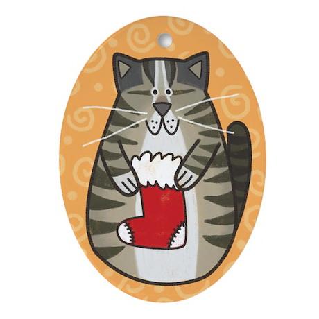 Jasper Cat Oval Ornament