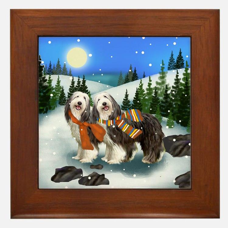 BEARDED COLLIE DOGS WINTER DAY Framed Tile