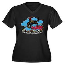 Rodeo Roundup Women's Plus Size V-Neck Dark T-Shir