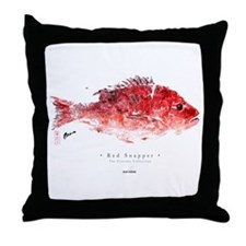 Red Snapper - Gyotaku fish Throw Pillow