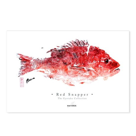 Red Snapper - Gyotaku fishprint Postcards