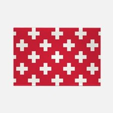 Red Plus Sign Pattern Rectangle Magnet