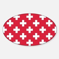 Red Plus Sign Pattern Sticker (Oval)