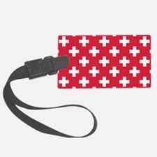 Red Plus Sign Pattern Luggage Tag