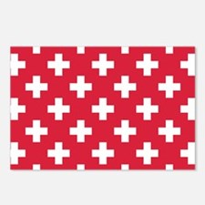 Red Plus Sign Pattern Postcards (Package of 8)