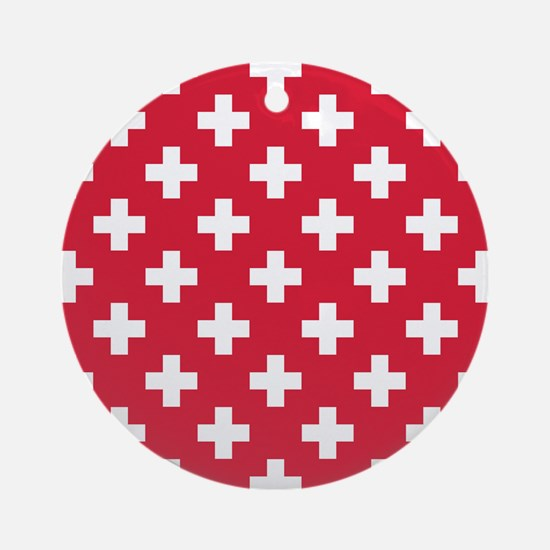 Red Plus Sign Pattern Round Ornament