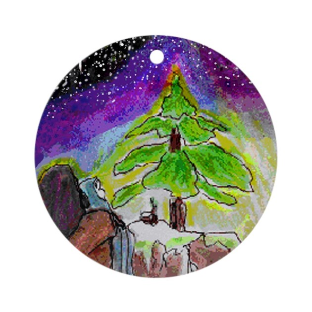 Religious unusual christmas tree ornament round by artafire for Quirky ornaments