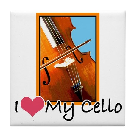 I Heart My Cello Tile Coaster