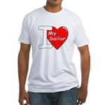 I Love My Sailor (Front) Fitted T-Shirt