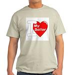 I Love My Sailor (Front) Ash Grey T-Shirt