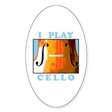 I Play Cello Oval Decal