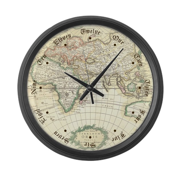 Old World Antique Map Large Wall Clock By Mozartini