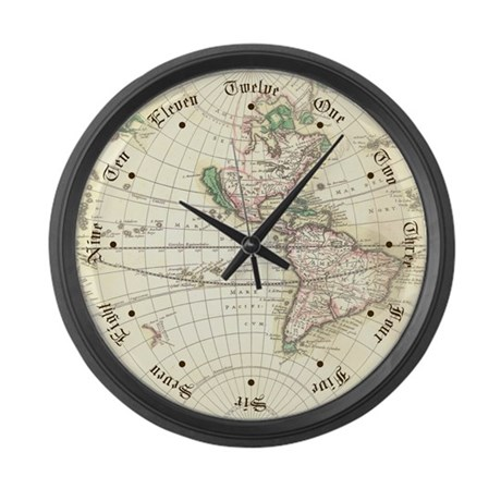 New World Antique Map Large Wall Clock