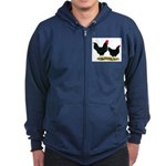 Black Broiler Chickens Zip Hoodie (dark)