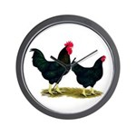 Black Broiler Chickens Wall Clock