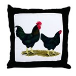 Black Broiler Chickens Throw Pillow
