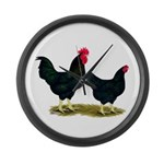 Black Broiler Chickens Large Wall Clock
