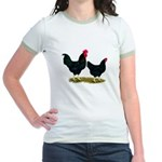 Black Broiler Chickens Jr. Ringer T-Shirt