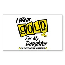 I Wear Gold For My Daughter 8 Rectangle Decal