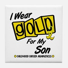 I Wear Gold For My Son 8 Tile Coaster