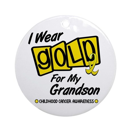 I Wear Gold For My Grandson 8 Ornament (Round)