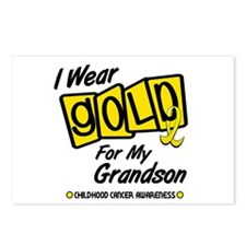 I Wear Gold For My Grandson 8 Postcards (Package o