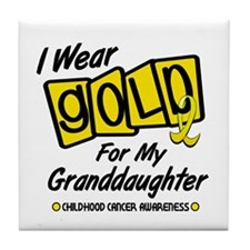 I Wear Gold For My Granddaughter 8 Tile Coaster